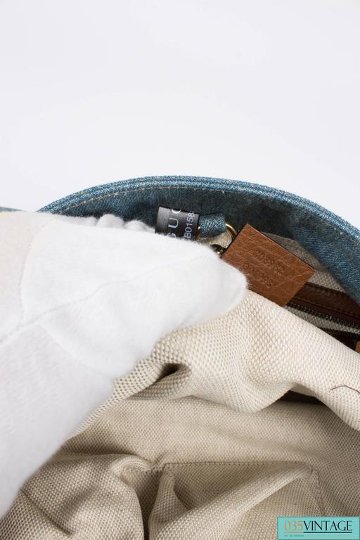 Gucci Blue Denim Medium Soho Tote Bag - blue denim/brown leather For Sale 3