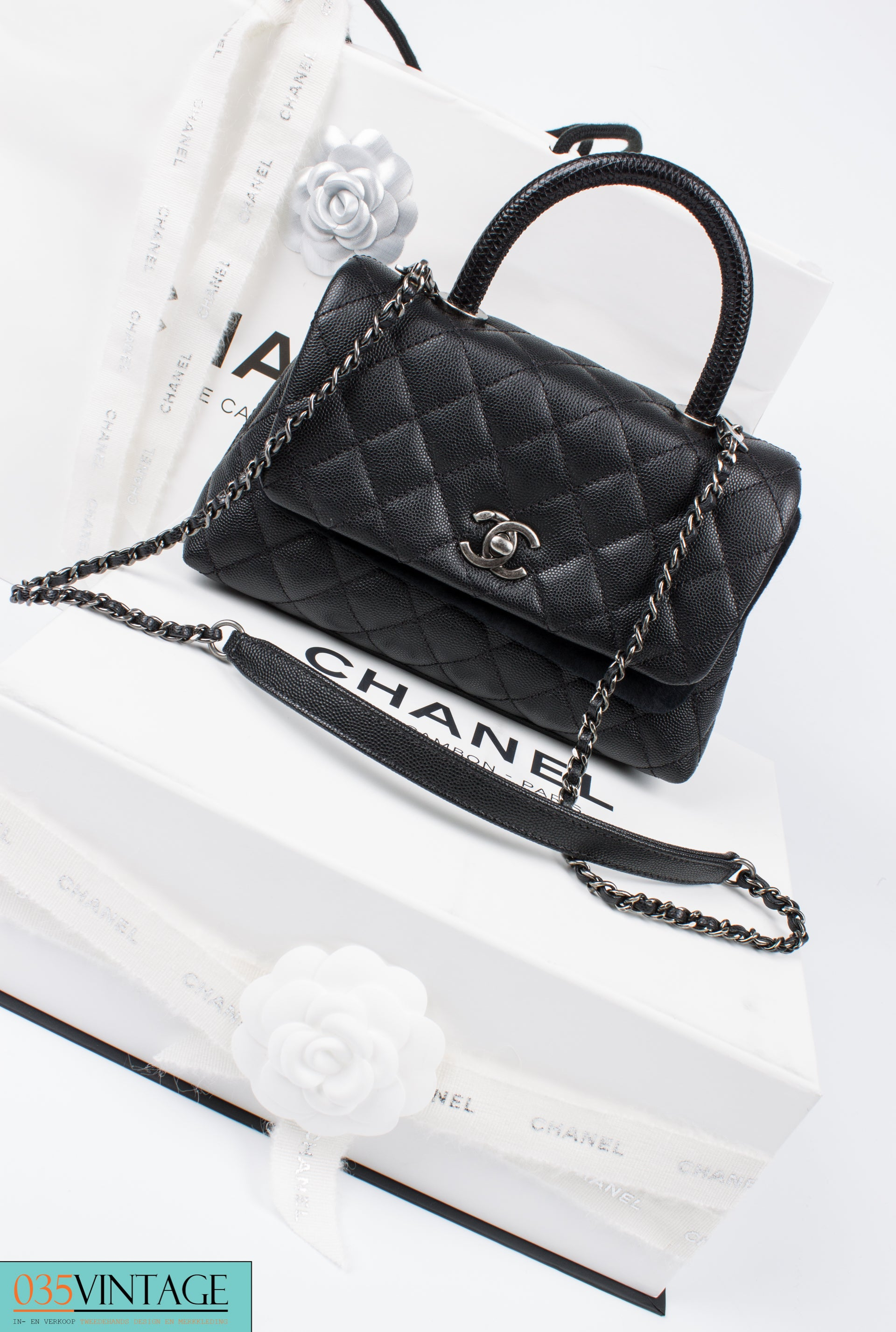 9cb45e08fcdd18 Chanel Coco Handle Flap Bag Mini Lizard and Caviar Quilted Leather - black  at 1stdibs