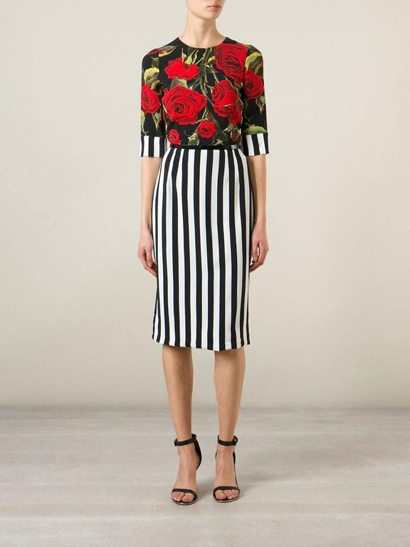 Dolce And Gabbana Striped Rose Print Dress At 1stdibs