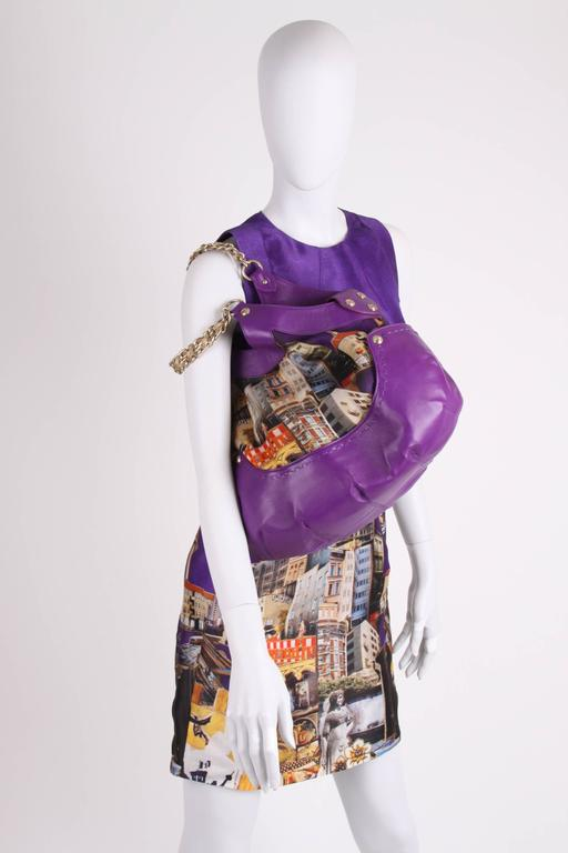 Versace & Tim Roeloffs Art Print Silk Dress - purple For Sale 1