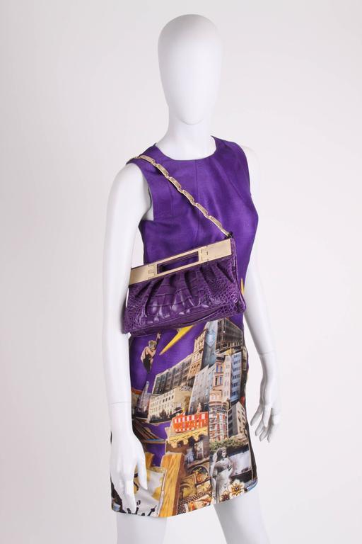 Versace & Tim Roeloffs Art Print Silk Dress - purple For Sale 2