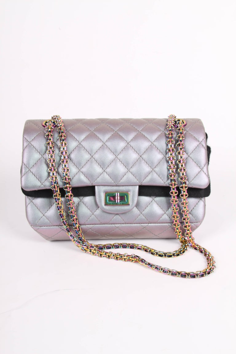 97d3a9b19b5c Gray Chanel Medium 2.55 Reissue Double Flap Bag - Lilac Iridescent Mermaid  For Sale