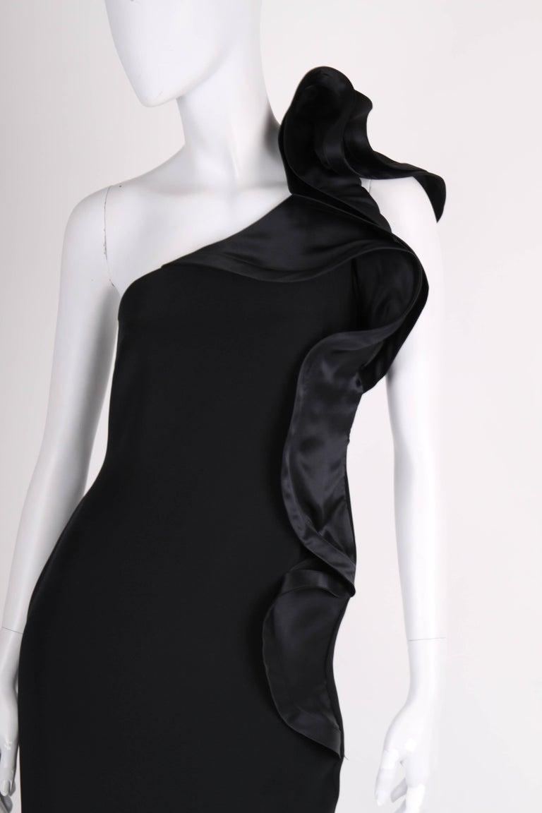 Black   Marchesa Notte One-Shoulder Silk Dress - black   Marchesa Notte One-Shoulder S For Sale