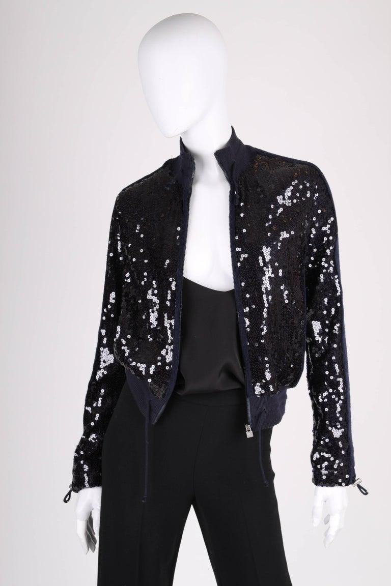 Women's Chanel Sports Line Sequin Bomber Jacket - dark blue For Sale