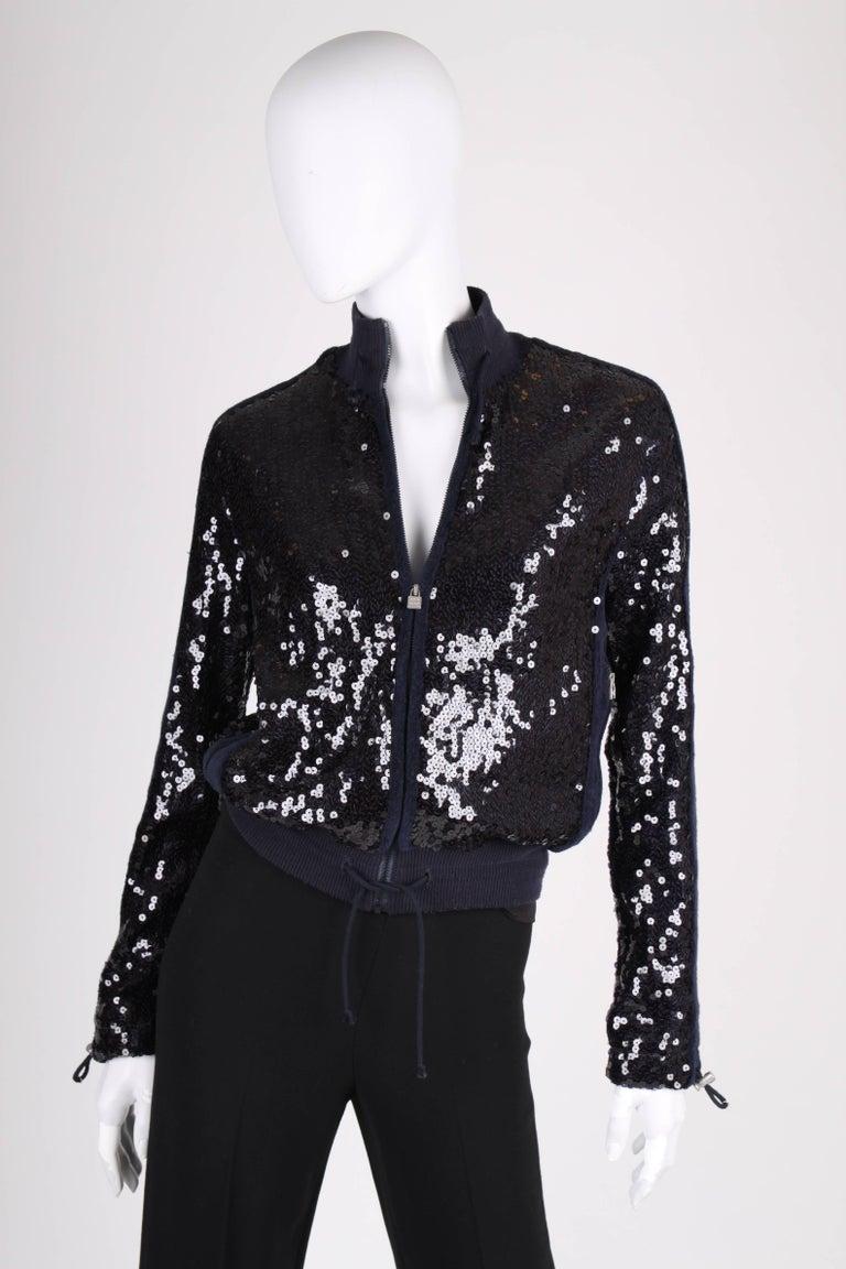 Black Chanel Sports Line Sequin Bomber Jacket - dark blue For Sale