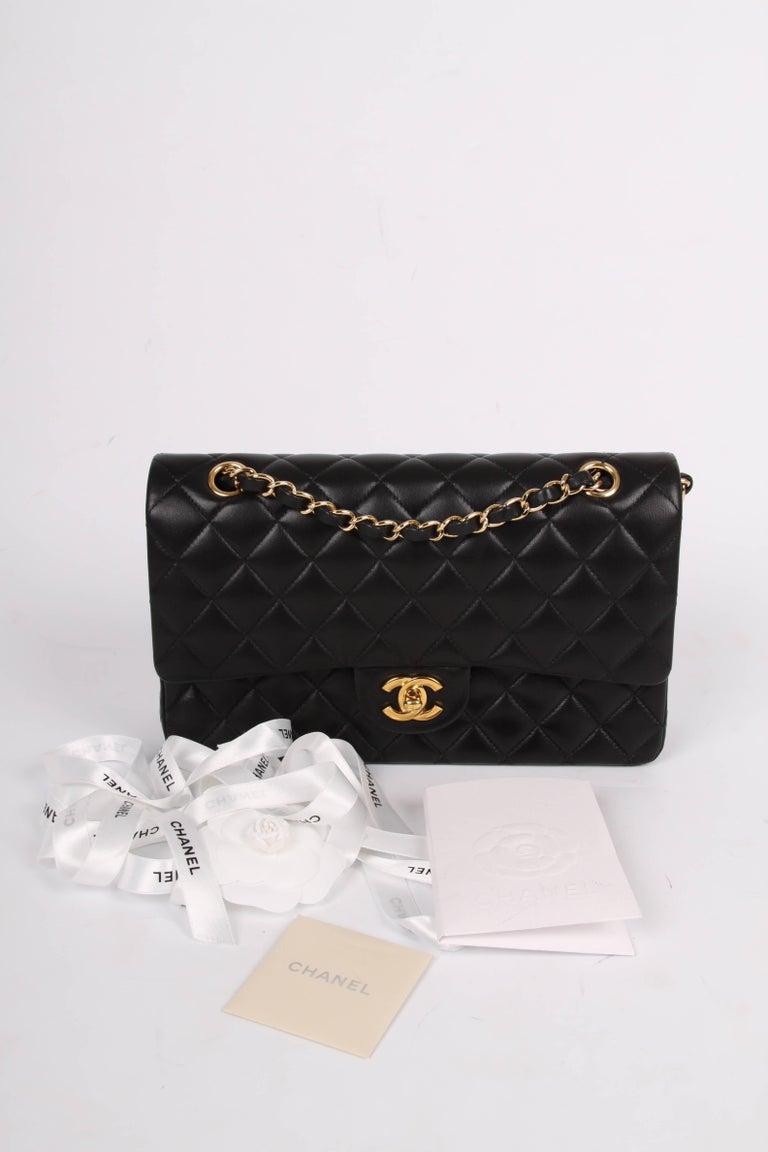 e7033389d5e8d Black Chanel 2.55 Medium Classic Double Flap Bag - black gold For Sale