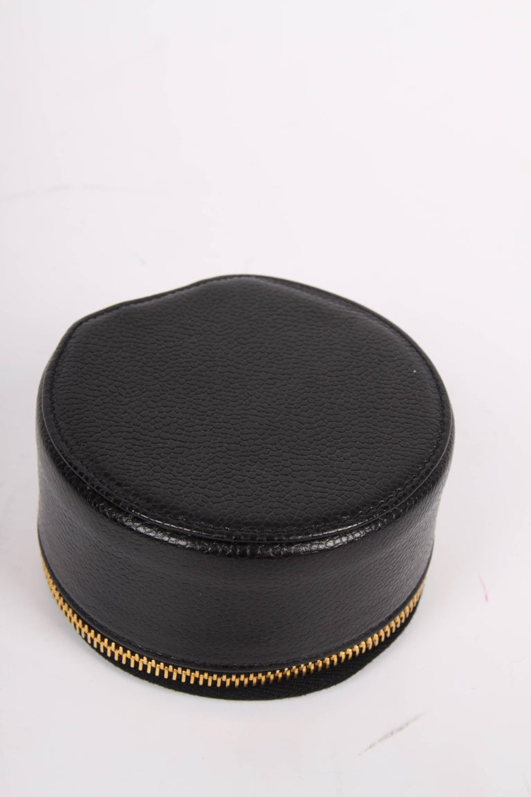 Chanel Cc Caviar Leather Jewelry Case Round Pouch Bag