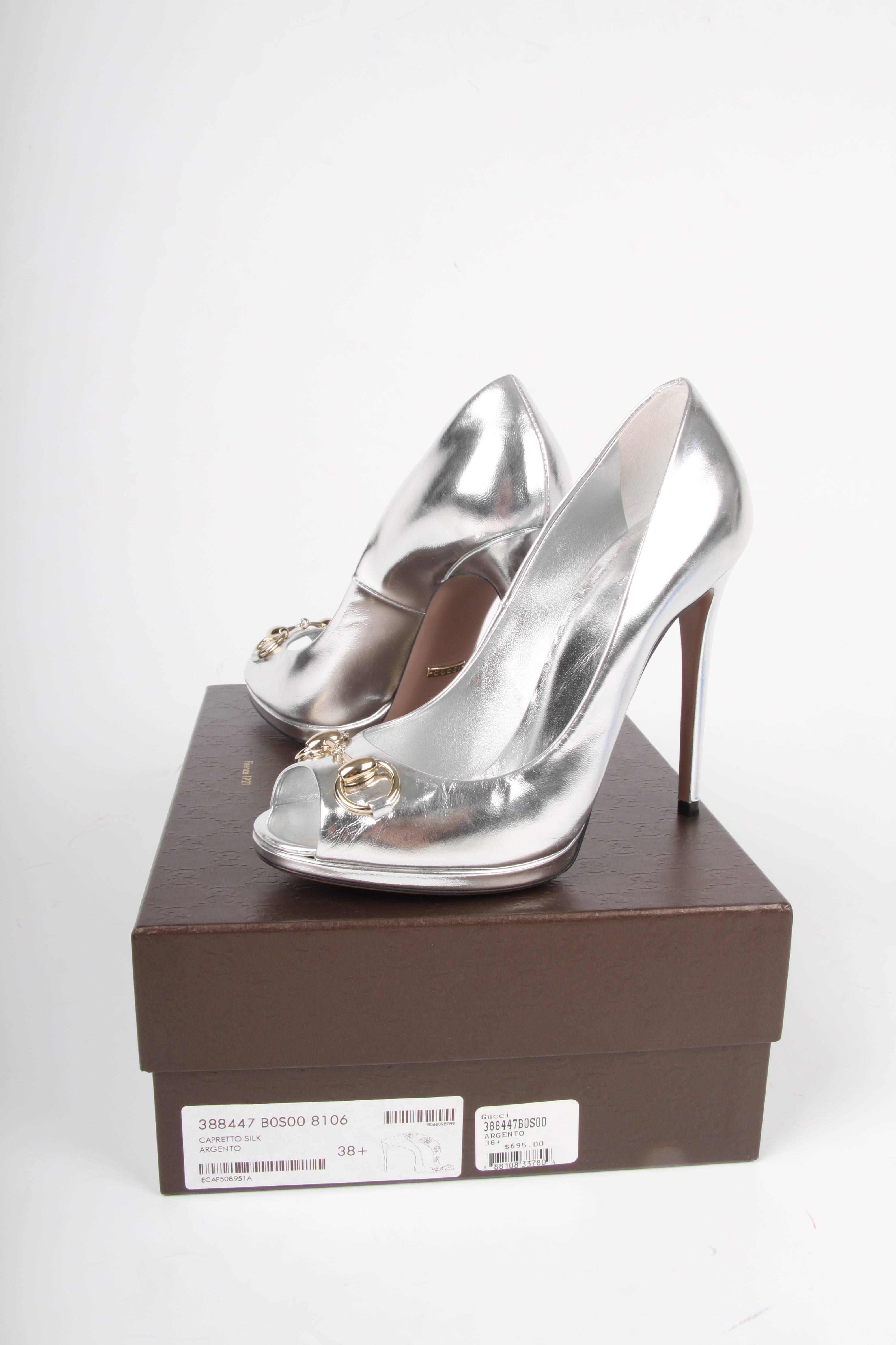 a26035ae5df Gucci Peep-Toe Horsebit Pumps - silver at 1stdibs