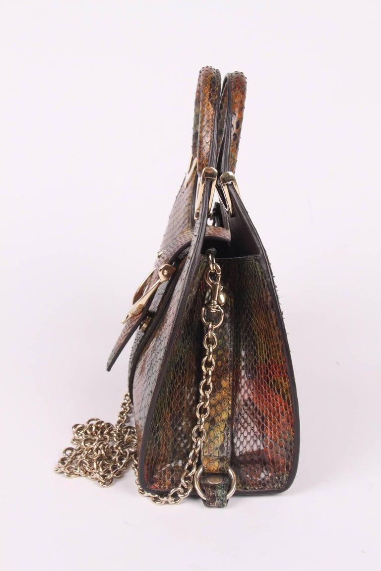Gucci Mini Python Stirrup Top Handle Bag Multi Color For