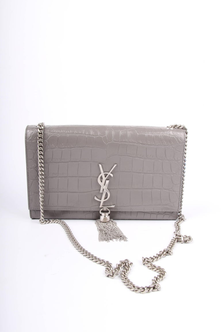 3b82fefed0e Yves Saint Laurent YSL Monogram Kate Medium Shoulder Bag - taupe In  Excellent Condition For Sale