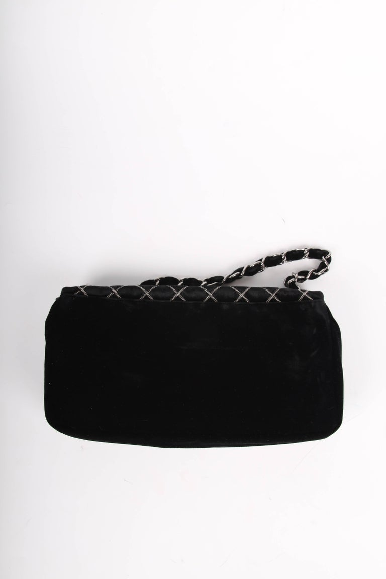 e13405499b8c Black Chanel Classic Flap East West Chain Quilted Velvet Bag - black For  Sale