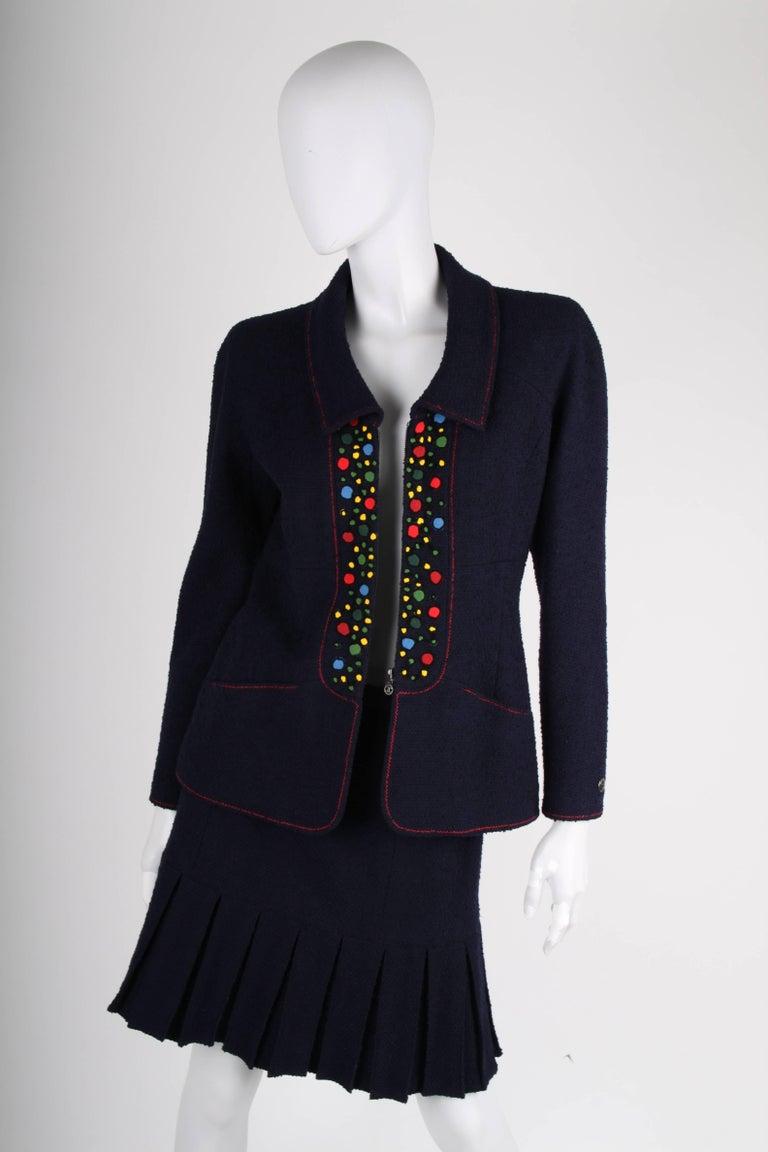 Women's Chanel Vintage 2 Piece dark blue Boucle Suit, 1997 For Sale