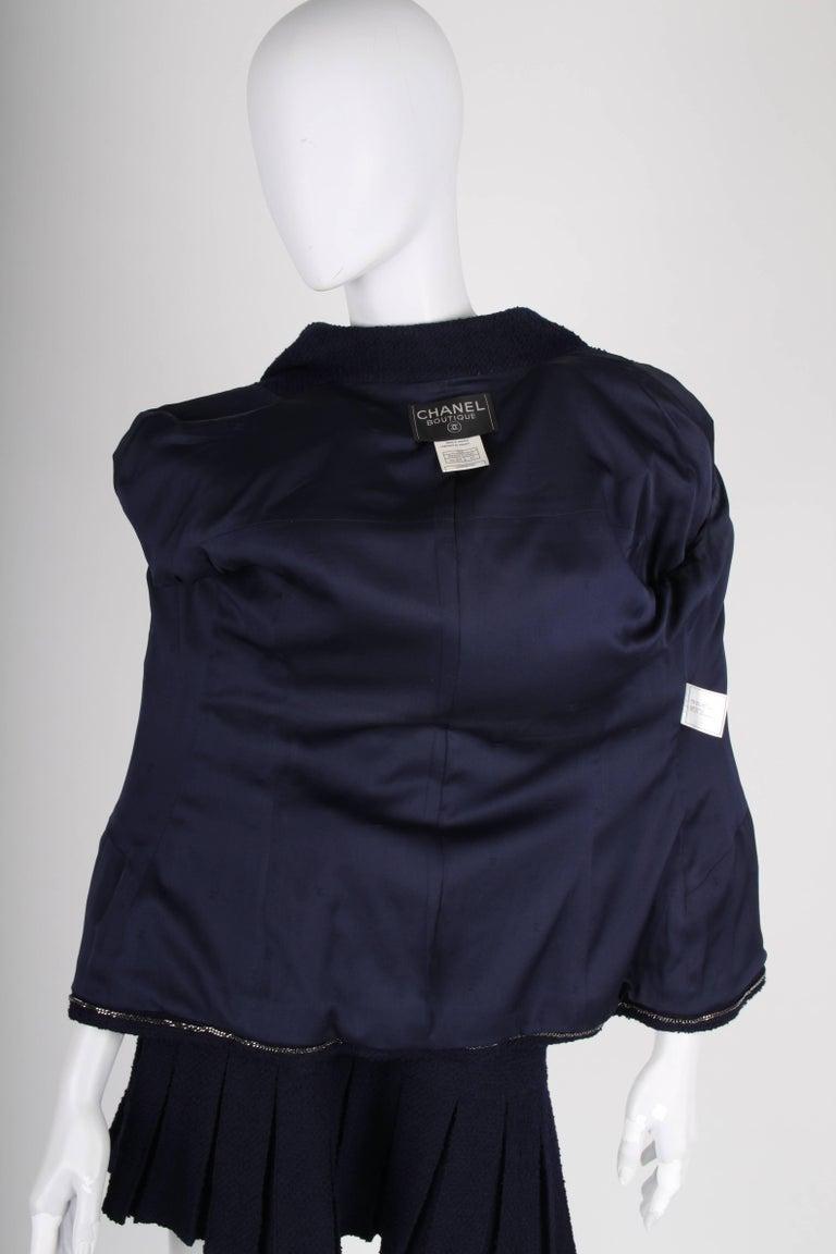 Black Chanel Vintage 2 Piece dark blue Boucle Suit, 1997 For Sale