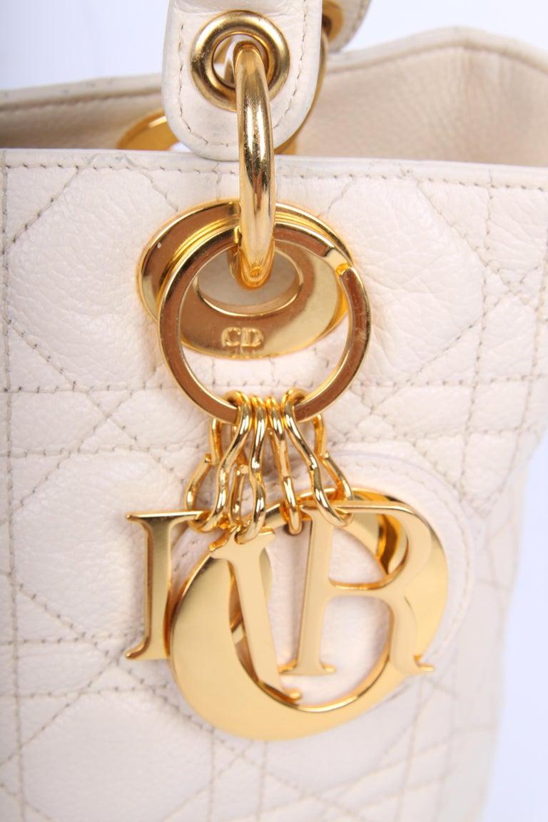 7eaa878f5a8 My Lady Dior Bag Medium Soft Grained Calfskin Leather - creamy white ...