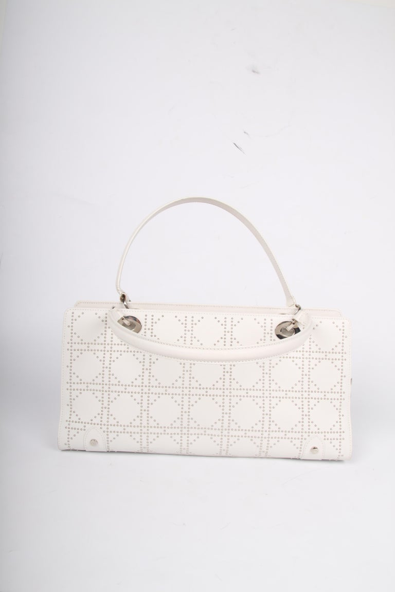 c26712a82509 Lady Dior white leather East West Studded Bag In Fair Condition For Sale In  Baarn