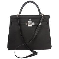 Hermes black Kelly 32 Togo Leather Bag, 2017