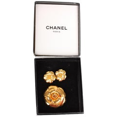 Chanel 3 pc Vintage Camellia Brooch and Earrings Jewelry Set