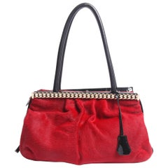 Christian Louboutin red and black Kathena Pony Hair Bag