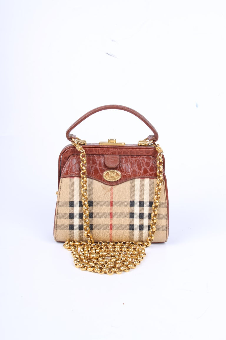 Brown Burberry Vintage Canvas   Leather Shoulder Crossbody Bag - brown For  Sale a6aa1157cca47