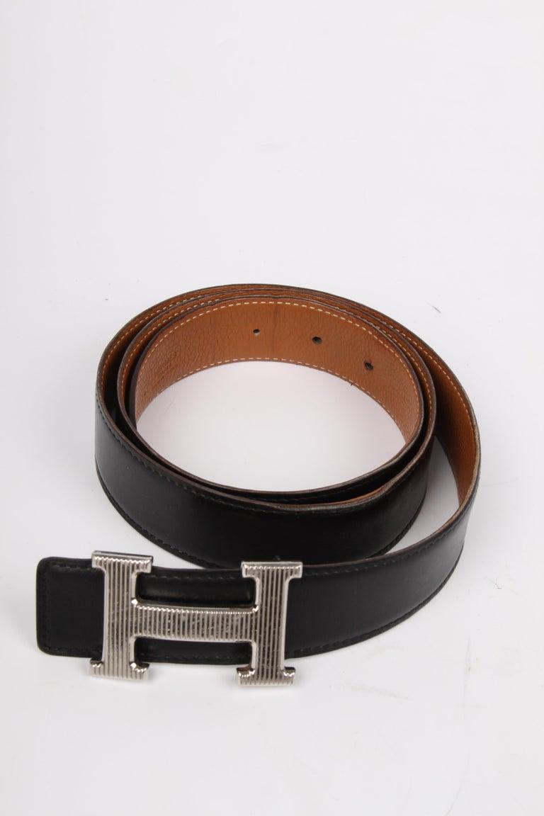 Hermes Reversible 'H' Belt - black/brown In Fair Condition For Sale In Baarn, NL