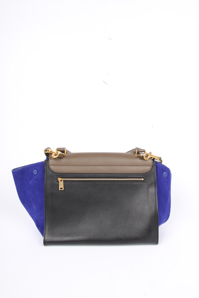 Celine Tricolor Trapeze Shoulder Bag - taupe/black/blue In Excellent Condition For Sale In Baarn, NL