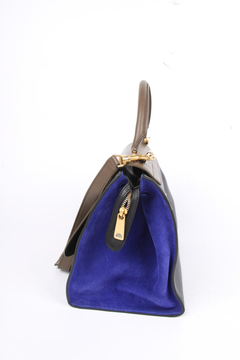 Celine Tricolor Trapeze Shoulder Bag - taupe/black/blue For Sale 2