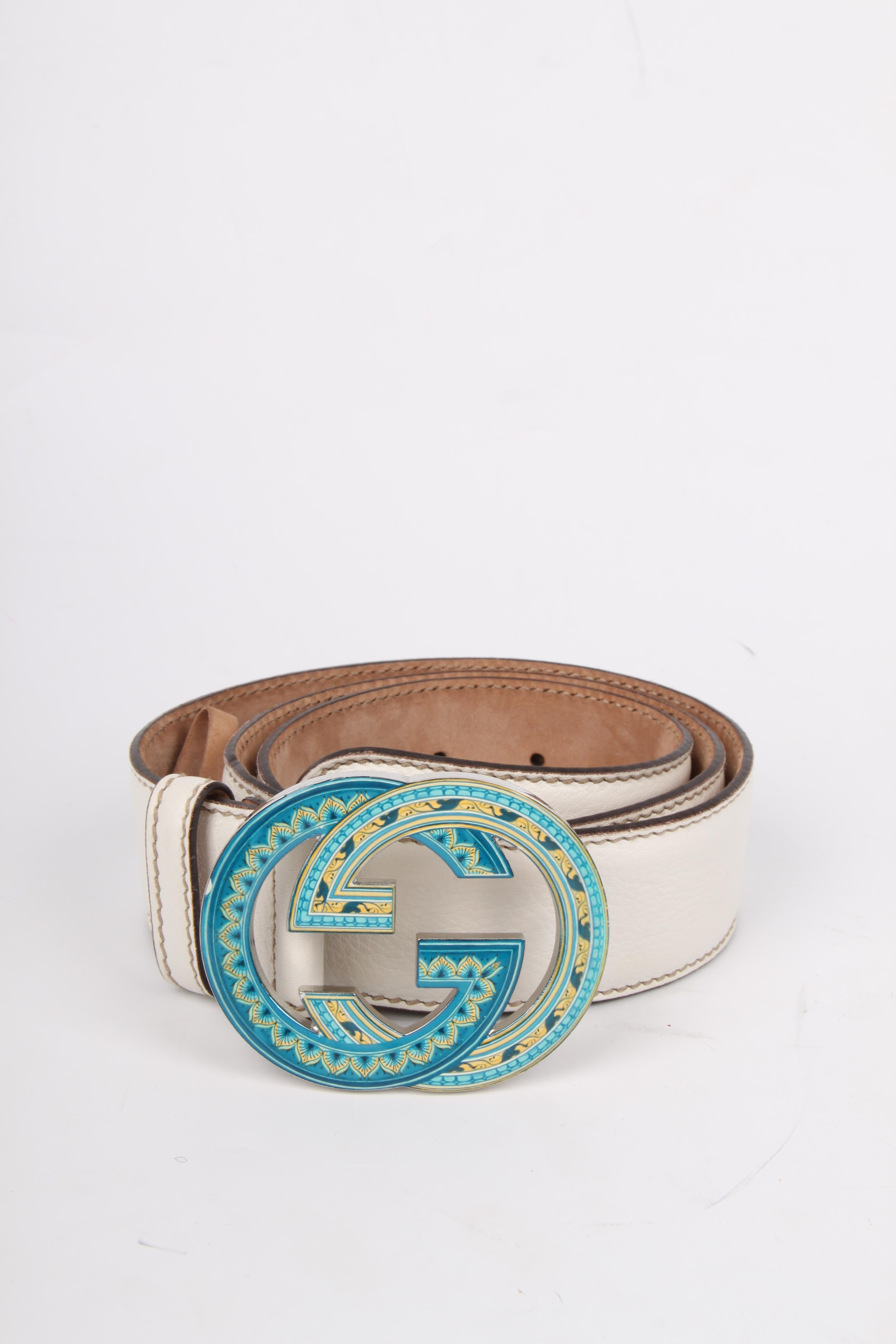 479475f6988 Gucci GG Leather Belt - white turquoise at 1stdibs