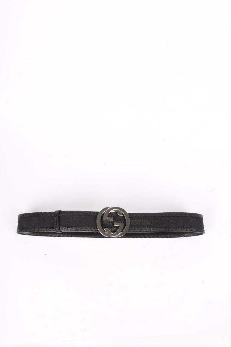 Black Gucci Guccissima GG Belt - black/silver For Sale