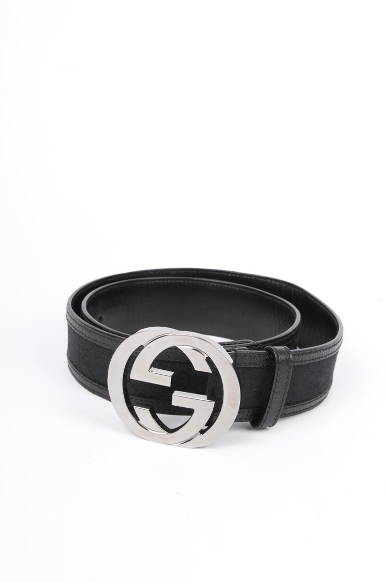 Gucci Guccissima GG Belt - black/silver In Excellent Condition For Sale In Baarn, NL