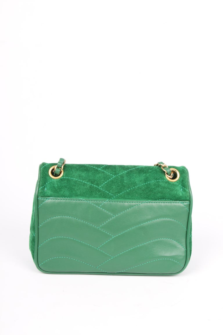 Green Chanel Scallop Quilted Small Pagoda Flap Bag - green suede For Sale