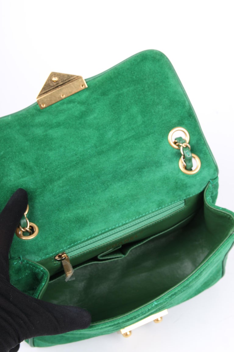 Chanel Scallop Quilted Small Pagoda Flap Bag - green suede For Sale 3