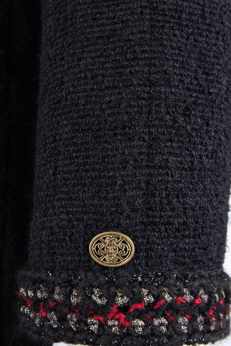 Chanel Paris Shanghai Collection Wool Coat - black In Excellent Condition For Sale In Baarn, NL