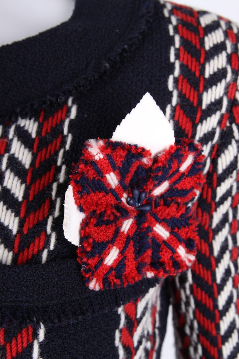 Black   Chanel Wool Jacket - blue/red/white    For Sale