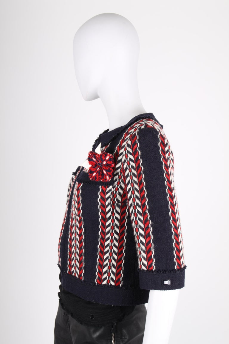 Chanel Wool Jacket - blue/red/white    In Excellent Condition For Sale In Baarn, NL