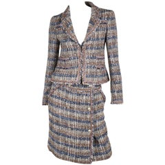 Chanel 2-piece suit - blue/brown/grey/silver