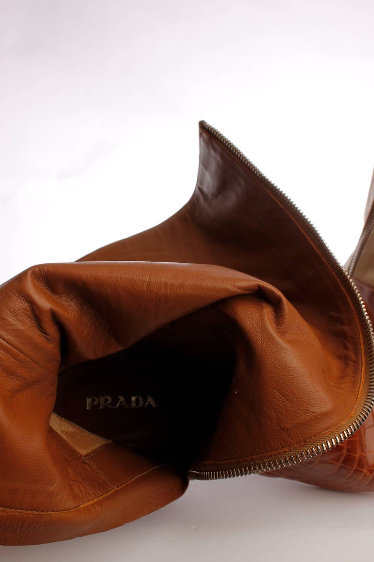 Prada Crocodile Leather and Jacquard Canvas Boots - camel In New Condition For Sale In Baarn, NL
