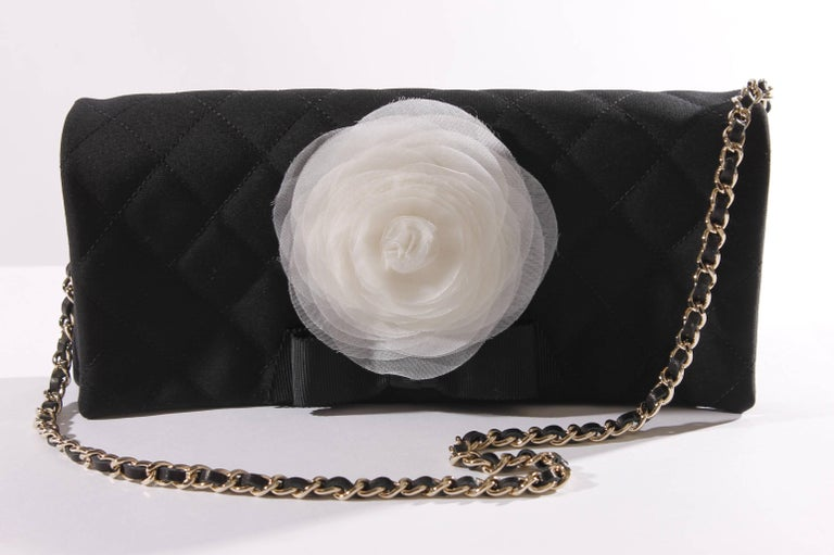 bf4b00d5199d65 Chanel Satin Camellia Clutch Bag - black/white/silver For Sale at ...