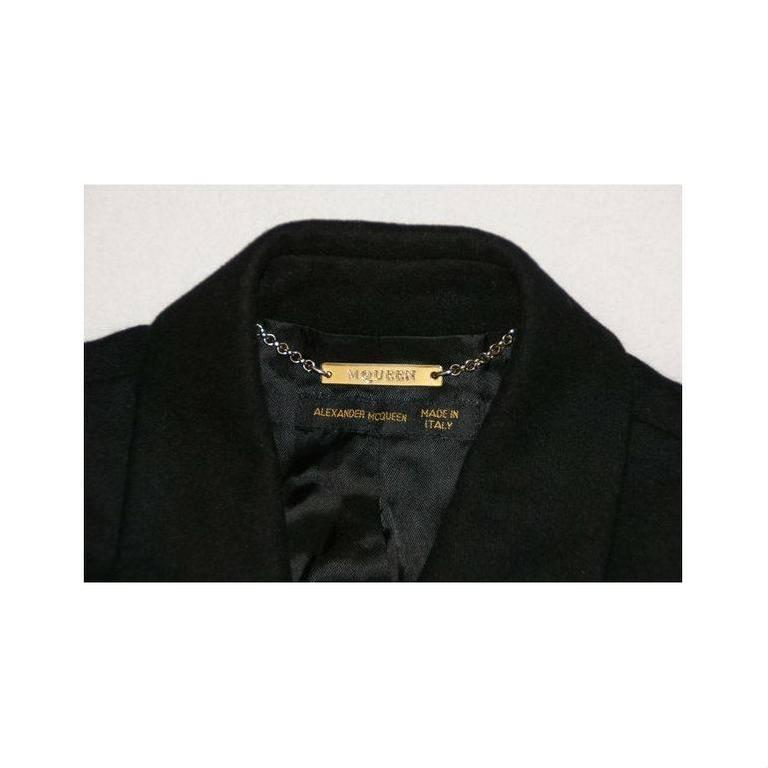 """Alexander McQueen """"What a Merry Go Round"""" Black Wool Wrap Jacket Coat, A/W 2001  For Sale 1"""