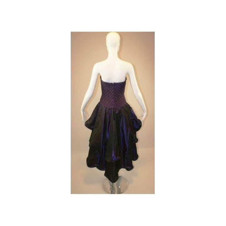 1980's Odicini Couture Purple Mauve Peacock Lace Ruffle Strapless Dress  In Good Condition For Sale In Yukon, OK