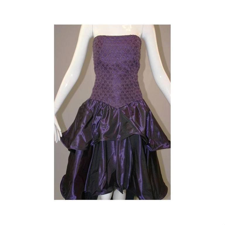 1980's Odicini Couture Purple Mauve Peacock Lace Ruffle Strapless Dress  2