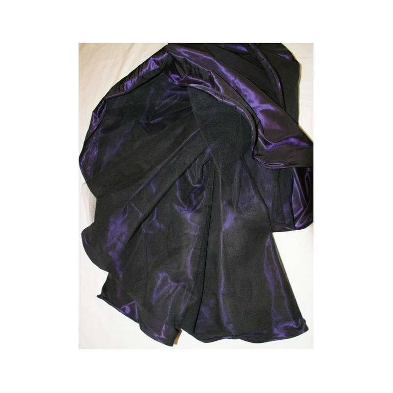 1980's Odicini Couture Purple Mauve Peacock Lace Ruffle Strapless Dress  For Sale 2