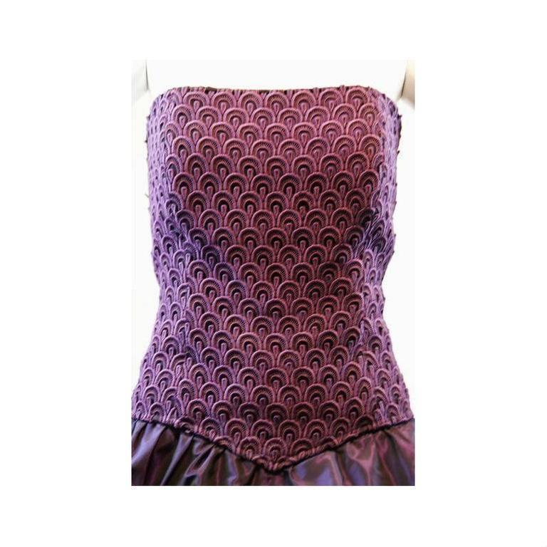 Black 1980's Odicini Couture Purple Mauve Peacock Lace Ruffle Strapless Dress  For Sale