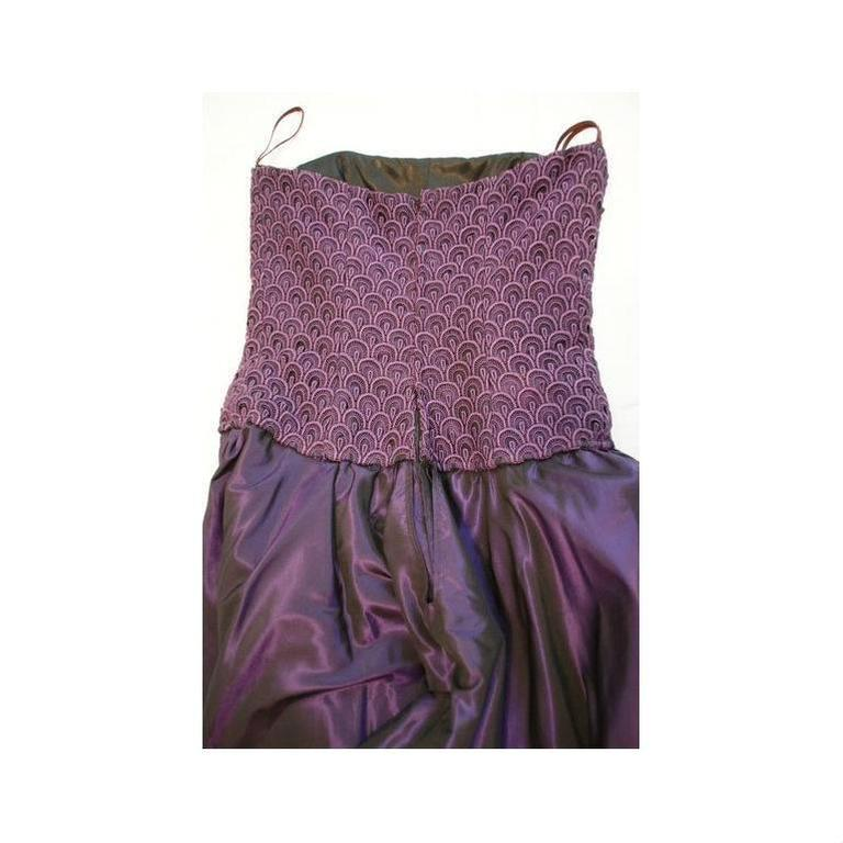 Women's 1980's Odicini Couture Purple Mauve Peacock Lace Ruffle Strapless Dress  For Sale