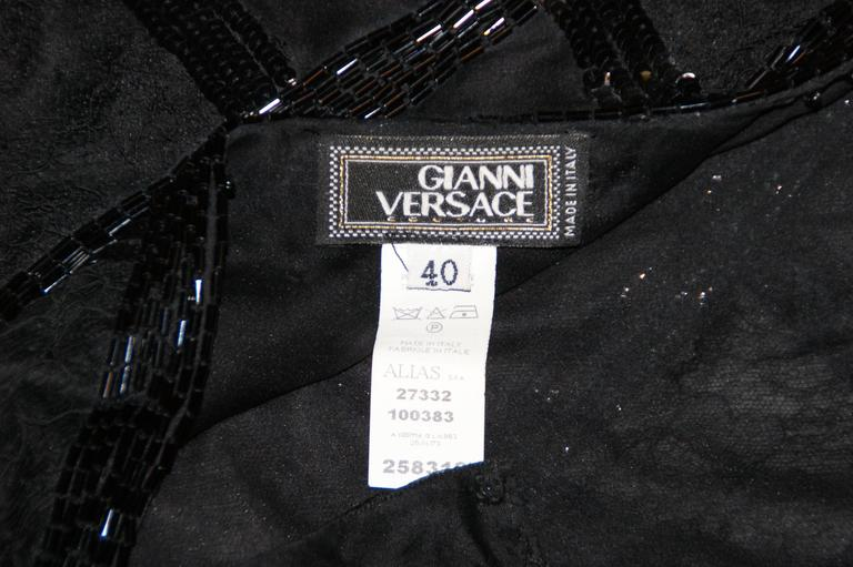 S/S 2003 Gianni Versace Couture Runway Black Silk Beaded 1920's Flapper Dress 40 7