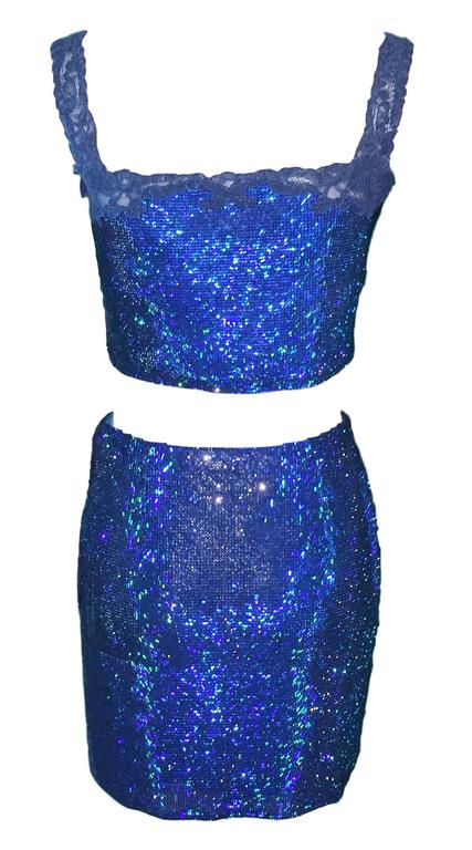 Blue F/W 1997 Atelier Versace by Gianni Oroton Chainmail Crystal Crop Top & Skirt Set For Sale