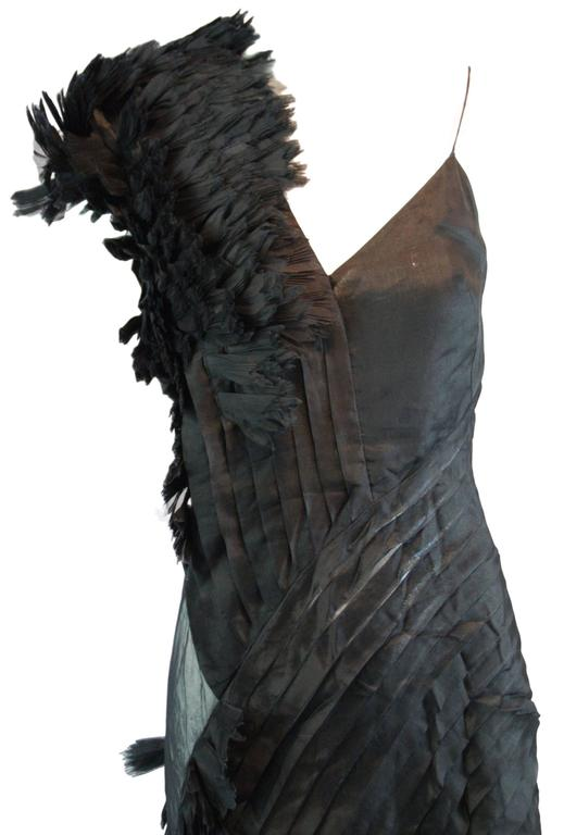 DESIGNER: Alexander McQueen S/S 2001 'Voss' Runway  Please contact for more information and/or photos.  CONDITION: Excellent- there is a tiny black pin dot on the sheer side panel, please see photos.   MATERIAL: 100% Silk   COUNTRY MADE: