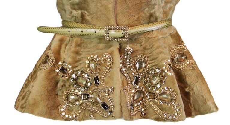 Brown Unworn A/W 2007 Runway Christian Dior by John Galliano Crystal Fur Jacket  For Sale
