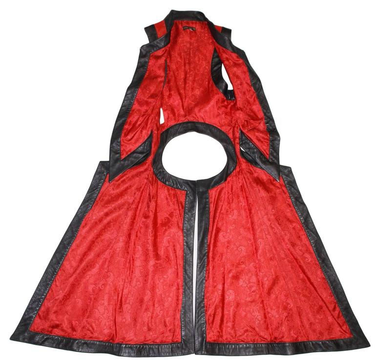 S/S 2000 Runway Alexander McQueen Red & Black Leather Vest Jacket 38 For Sale 1