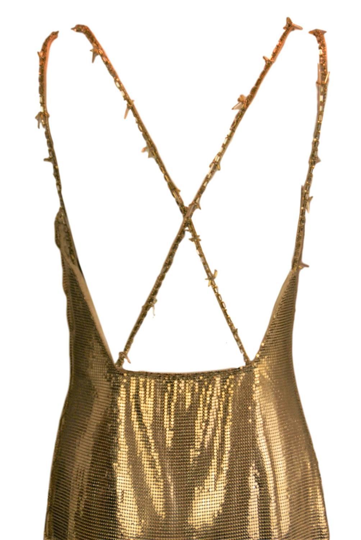 Gianni Versace Runway Harper\'s Bazaar Gold Metal Mesh Dress, F / W ...