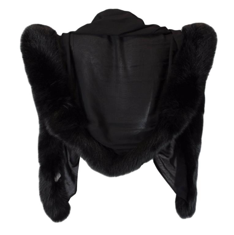 1998 Atelier Versace Black Silk & Fur Wrap Shawl Scarf In Excellent Condition For Sale In Yukon, OK